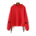 Lace Up Detail Long Sleeve Plain Casual Hoodie