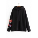 Contrast Trim Floral Embroidered Drawstring Hood Long Sleeve Loose Hoodie