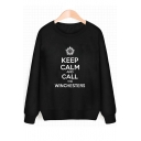 Sun KEEP CALM Letter Print Round Neck Long Sleeve Sweatshirt