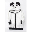 Cute Panda Pattern Contrast Trim Long Sleeve Plush Hoodie