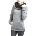 Fashion Plain Long Sleeve Slim Hoodie for Woman