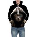 Chic Drawstring Hood Cat Pattern Oversized Unisex Hoodie