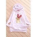 Cute Cat Print Long Sleeve Loose Hoodie for Girl