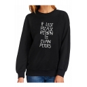 IF LOST Letter Print Round Neck Long Sleeve Sweatshirt