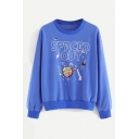 SPACED OUT Letter Planet Print Round Neck Long Sleeve Pullover Sweatshirt