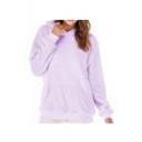Women's Winter Long Sleeve Simple Solid Fleece Hoodie