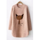 Winter's New Arrival Long Sleeve Crewneck Cartoon Cat Embroidered Tunic Loose Fit Sweater