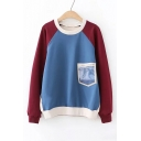 Letter Pocket Patched Long Sleeve Color Block Two-Tone Crewneck Sweatshirt
