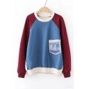 Letter Pocket Patched Long Sleeve Color Block Two-Tone Crewneck Sweatshirt