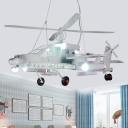 Height Adjustable High Flyer Lighting Fixture Boys Room Metallic 6 Bulbs Chandelier Lamp in White