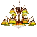 Orange/Blue Geometrical Square Shade&Center Bowl Chandelier with Old Brass Arms 38.58