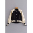 Fancy Color Block Striped Hem Long Sleeve Stand Collar Button Down Baseball Jacket