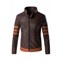 Men's Fashion Color Block Stand Collar Long Sleeve Zip Up PU Biker Jacket