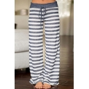 Classic Striped Floral Printed Tied Waist Loose Leisure Wide Legs Pants