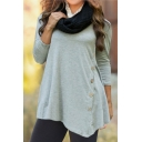 Button Embellished Side Long Sleeve Round Neck Solid Asymmetric Hem Loose T-Shirt