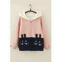 Cute Cartoon Rabbit Embroidered Pocket Long Sleeve Hooded Zip Up Coat