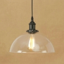 Industrial Semicircle Hanging Light Clear Glass 1 Head Suspension Light in Black Finish for Cafe Restaurant