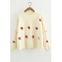 Fashion Pattern Round Neck Long Sleeve Winter's Cozy Casual Beige Sweater