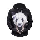 Fashion 3D Panda Pattern Long Sleeve Black Hoodie for Men