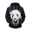 Fashion 3D Panda Pattern Long Sleeve Black Hoodie for Men