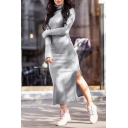Winter's Long Sleeve Turtleneck Split Side Solid Maxi Bodycon Sweater Dress for Women