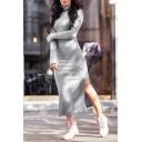 Winter's Long Sleeve Turtleneck Split Side Solid Maxi Bodycon Sweater Dress for Women