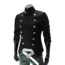 Winter's Fashion Stand Collar Long Sleeve Double Breasted Open Hem Slim Fitted Blazer for Men