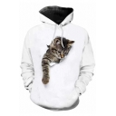 Hot Fashion 3D Gray Cat Pattern Long Sleeve Loose Fitted Sports White Hoodie