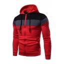 Men's Winter Fashion Color Block Long Sleeve Zip Up Slim Hoodie