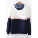 Fashion Letter MY BEST FRIEND Pattern Lapel Collar Patched Long Sleeve Colorblock Striped Sweatshirt