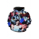 3D Funny Character Pattern Long Sleeve Blue Hoodie for Girls