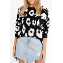 Winter's New Arrival Long Sleeve Round Neck Leopard Pattern Loose Sweater for Girls