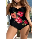 Hot Fashion Floral Printed Spaghetti Straps One Piece Swimwear