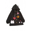 Cute Cartoon Cat Printed Long Sleeve Single Breasted Hooded Woolen Coat for Girls
