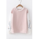 Petal Collar Patched Long Sleeve Floral Printed Pullover Regular Sweatshirt
