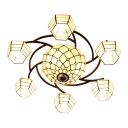 Simple Style 7-Light Beige Glass Shade Flush Mount Ceiling Light with Center Bowl 33