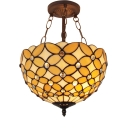 11.81-inch Wide Beige Flower Motif Bowl Shade Hanging Light with Jewel Decorations