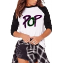 Letter POP Pattern Long Sleeve Two-Tone Colorblock White T-Shirt
