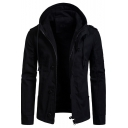 6 Men's Long Sleeve Hooded Zip Up Regular Fitted Jacket