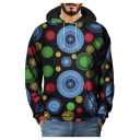 3D Geometric Circle Printed Long Sleeve Street Black Hoodie
