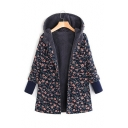 Chic Floral Printed Long Sleeve Hooded Winter's Fleece Coat for Women