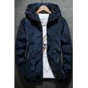 Fashion Letter Printed Zip Pocket Long Sleeve Hooded Zip Up Coat