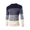 Men's Trendy Color Block Long Sleeve Crew Neck Slim Fit Sweater