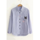 Cartoon Cat Patched Pocket Striped Printed Long Sleeve Classic Blue Shirt