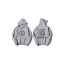 Fashion Circle Letter Printed Casual Loose Fit Long Sleeve Hoodie