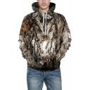 New Trendy Digital Animal Night Owl Pattern Unisex Loose Fitted Khaki Hoodie