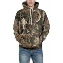 Khaki Fashion Long Sleeve 3D Elk Pattern Unisex Sports Hoodie