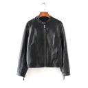 Classic Black Zip Embellished Cuff Stand Collar Long Sleeve Zip Up PU Biker Jacket