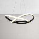 Modern Lighting 58W Twisted Pendant Light Aluminum Black LED Chandelier for Bedroom Living Room Dining Table