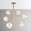 Modern Chandelier for Living Room LED 6/8 Light Modo Chandelier in Gold Home Decoration Orb Pendant Lighting